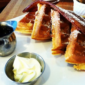 Bacon waffles at Bakin' and Eggs